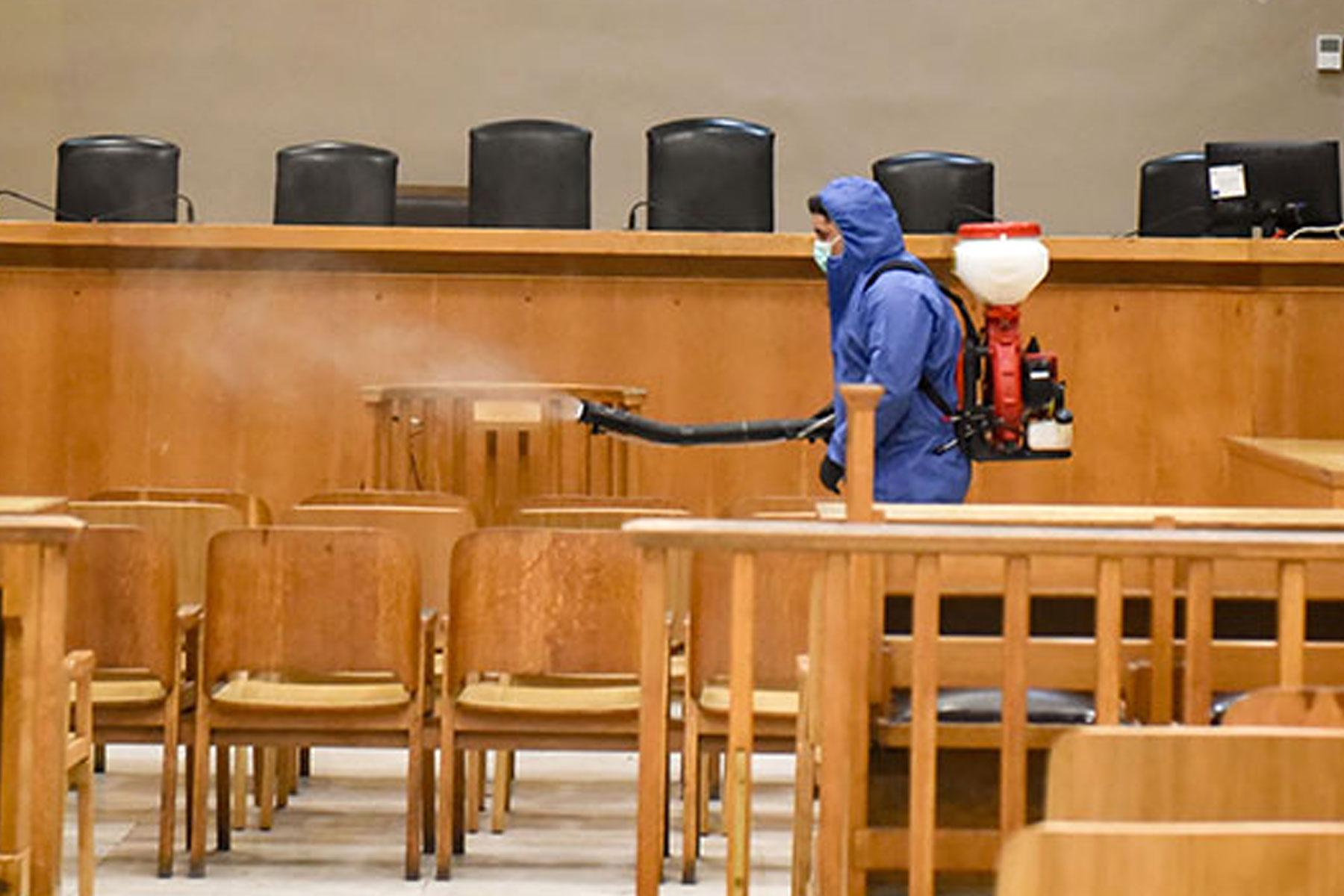 Απολύμανση στα Δικαστήρια Μυτιλήνης